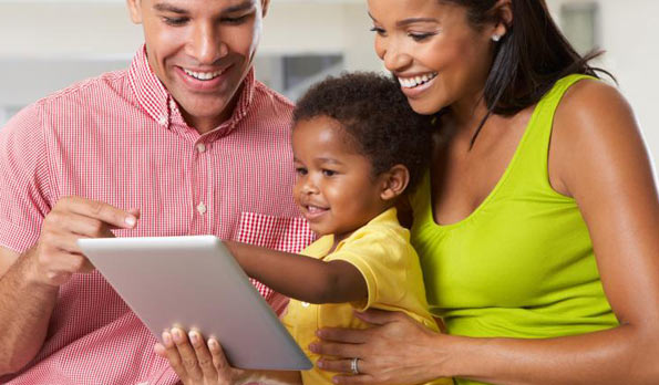 Family screen time with toddler