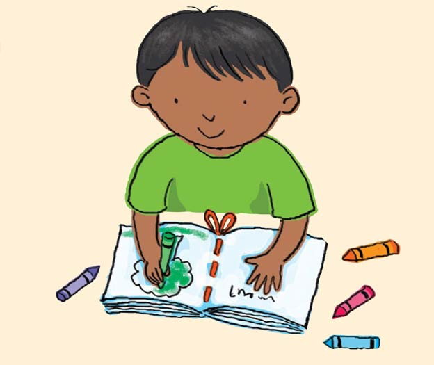 Illustration of young child mark-making