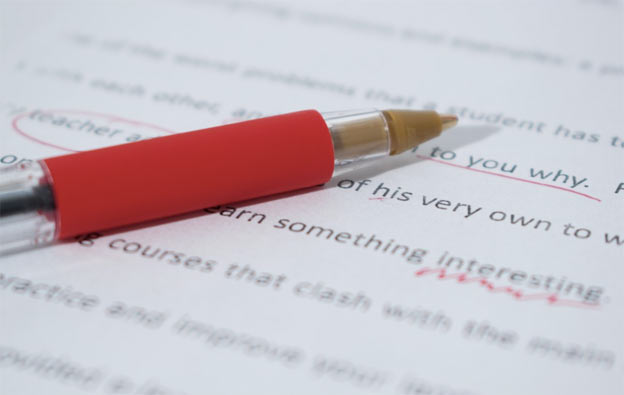 Copy editing red pen
